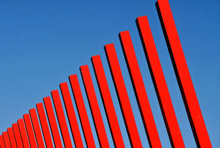 Vibrant red structures against a blue sky Stock Photo - 376691
