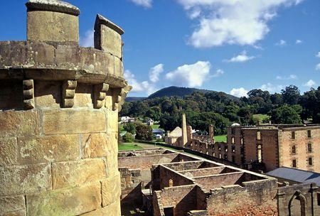 Historic ruins at Port Arthur Convict Settlement, Tasmania, Australia Stock Photo