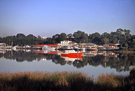 tasmania: View of small fishing and tourist village, West Coast, Tasmania, Australia