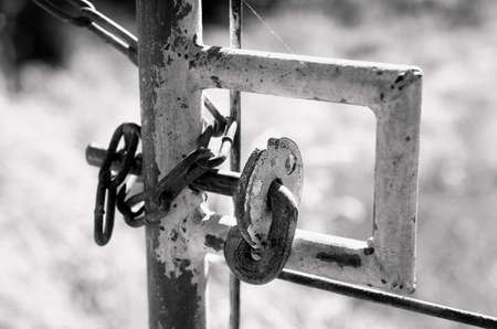 infra red: Close up of gate lock, Black and White Infra Red