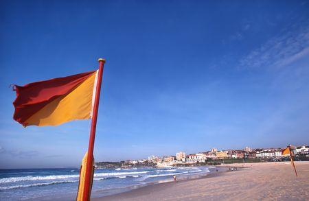 Warning flags on Sydney�s famous Bondi Beach, Sydney, Australia