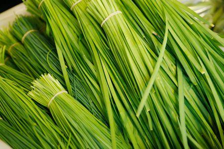 cebollin: Racimos de verde fresco Cebollino chino para la venta en el mercado puesto