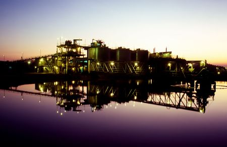 Sunrise over Gold Mine processing plant and tailings dam Stock Photo - 1150834