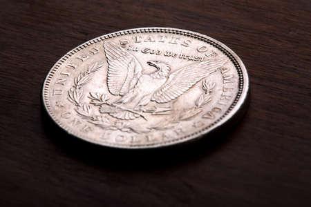 Reverse of 1889 USA Morgan Silver Dollar showing Eagle Stock Photo - 3074677