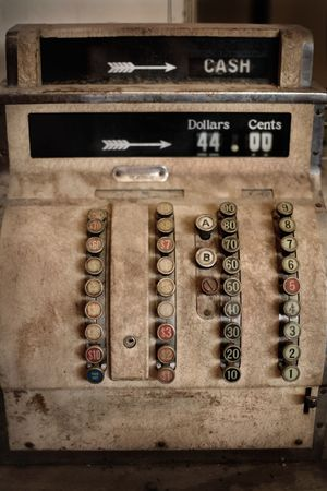analogue: Beautiful old hand operated antique analogue Cash Register
