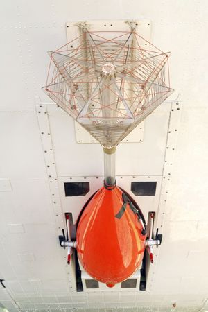 geophysical: Detail of electromagnetic survey bird, mounted to rear of airplane used for airborne geophysical surveying