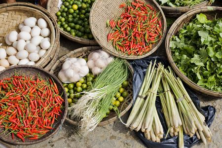 Fresh produce fro sale at an outdoor market Hoi An, central Vietnam
