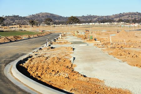 kerb: New housing estate under construction without any houses