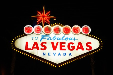 welcome sign: The famous landmark Welcome to Las Vegas neon sign Stock Photo