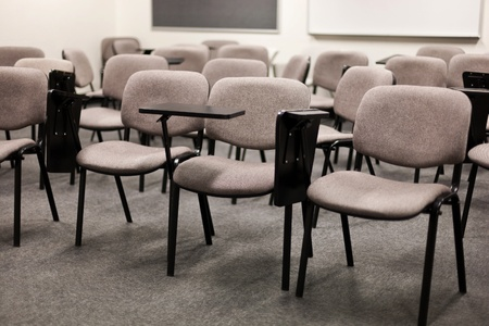 college classroom: Interior of College or University Classroom with chairs