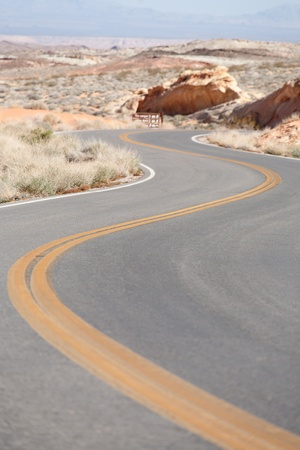 Road winding through The Valley of Fire, Rainbow Vista, Nevada, USA photo