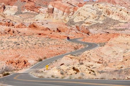 Road winding through The Valley of Fire, Rainbow Vista, Nevada, USA photo