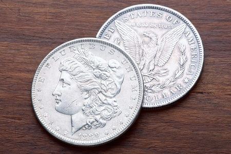 american currency: 1889 USA Morgan Silver Dollar with a classic head of Liberty Stock Photo
