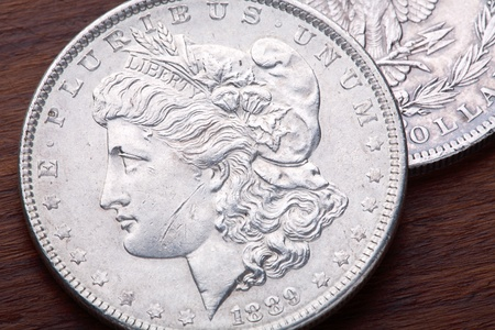 1889 USA Morgan Silver Dollar with a classic head of Liberty Stock Photo - 11036842