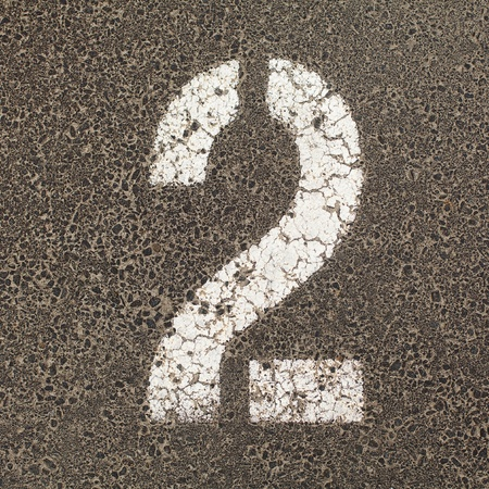carpark: The number Two stencil painted in white on the ground of a  carpark  Stock Photo