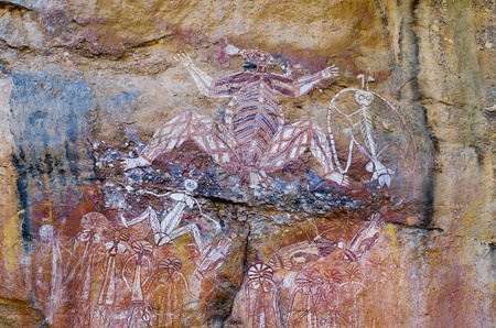 Aboriginal Rock Art at the Anbangbang galleries, showing Nabulwinjbulwinj, a dangerous spirit, Kakadu National Park, Northern Territory, Australia