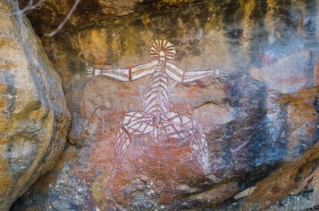 nourlangie: Aboriginal Rock Art at the Anbangbang galleries, showing Nabulwinjbulwinj, a dangerous spirit, Kakadu National Park, Northern Territory, Australia Editorial