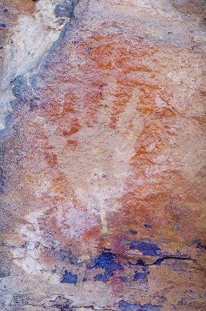 nourlangie: Aboriginal Rock Art at the Anbangbang galleries, depicting a hand, Kakadu National Park, Northern Territory, Australia Editorial