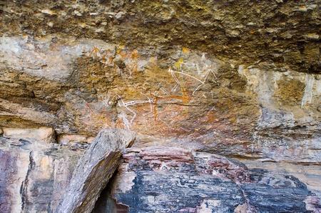 nourlangie: Aboriginal Rock Art at the Anbangbang galleries, depicting spirit people, Kakadu National Park, Northern Territory, Australia Editorial