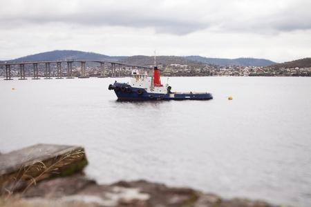 tug boat: Tug Boat moored in the River Derwent, Hobart, Tasmania  Photographed with Tilt Shift effect
