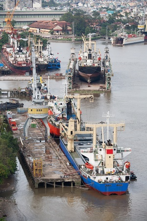 min: Elevated view of commercial shipping on the Mekong River, Port of Saigon, Ho Chi Min City, Vietnam
