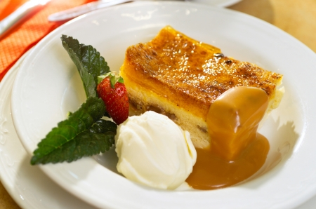 Bread and Butter Pudding served as dessert in a low cost bistro photo
