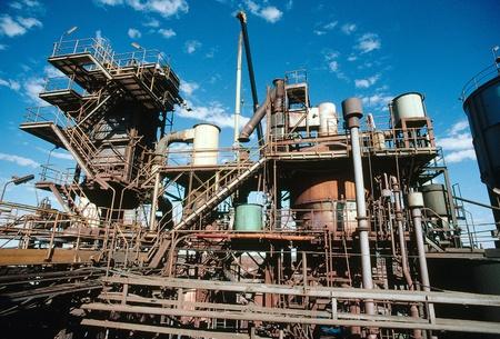 miner�a: Vista de la planta de procesamiento de la miner?de oro en el desierto de Australia