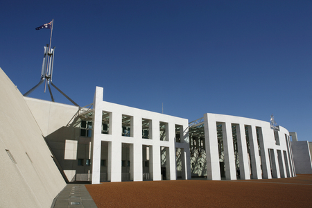 senate: View of Parliament House Canberra, the national parliament building of Australia, Australian Capital Territory, Australia
