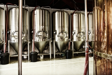 brewery: Interior views of small micro brewery processing and storage