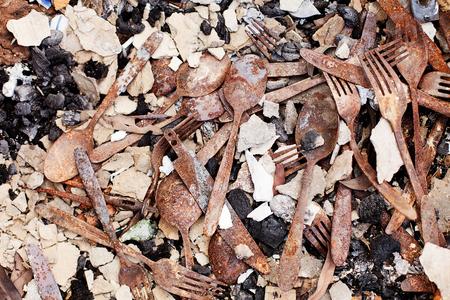 bushfire: Objects lying in the ruins of buildings destroyed by the Dunalley Bushfire, Tasmania, Australia