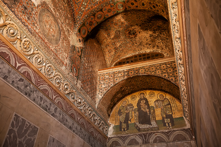 basillica: ISTANBUL, TURKEY - April 28: Decorative Interior of Hagia Sophia museum April 28, 2013 in Istanbul, Turkey. Hagia Sophia is former Orthodox patriarchal basilica, later a mosque and now a museum.