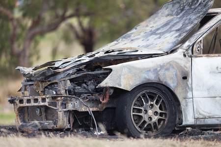 deliberately: Luxury model car destroyed in a fire deliberately lit by vandals