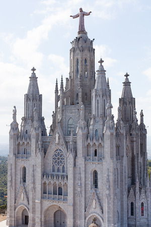 sagrat cor: Church of the Sacred Heart of Jesus, The Temple Expiatori del Sagrat Cor, on the summit of Mount Tibidabo in Barcelona, Catalonia, Spain Editorial