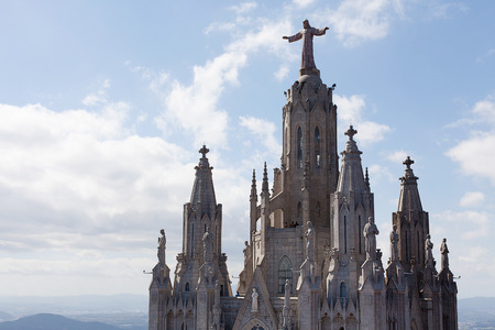 sagrat cor: Church of the Sacred Heart of Jesus, The Temple Expiatori del Sagrat Cor, on the summit of Mount Tibidabo in Barcelona, Catalonia, Spain Stock Photo