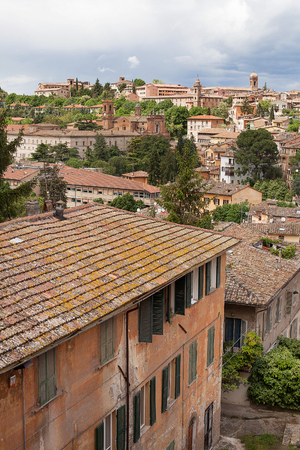 township: Views of buildings and rooftops of the old township of Perugia in the Umbrian region of Italy Stock Photo