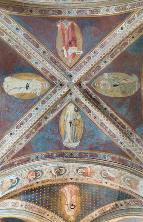 italian fresco: Florence, Italy-June 1, 2015. Interior ceiling of the Orsanmichele Church and Museum, Florence, Italy, originally built as a grain market. Editorial