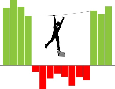 Silhouette of Businessman Climbing on Rope over Infographics Columns