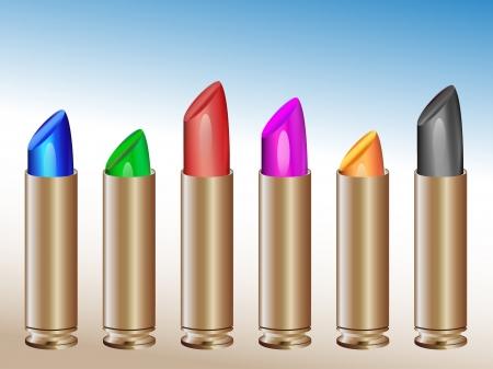 gun shell: Conjunto de l�pices labiales en gunshells en diferentes colores vivos