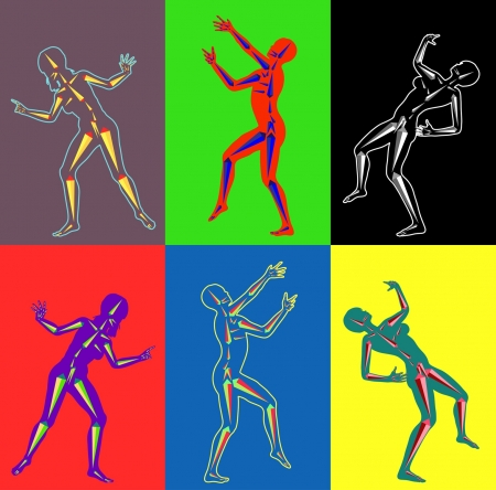 Coloured Silhouettes of Dancers with stylized bones on contrast background