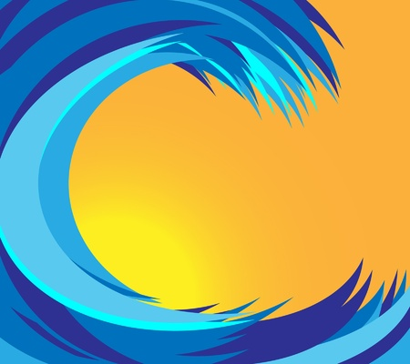 foam party: Stylized blue sea vawes with sunset on background