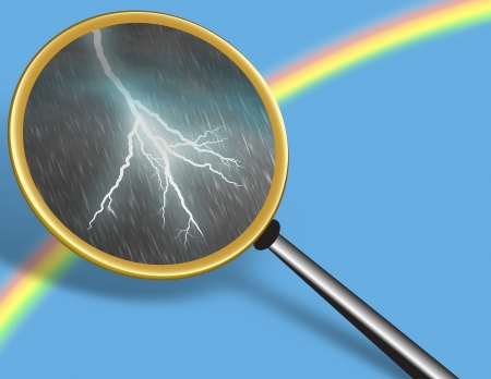 Clear Sky with Rainbow and Storm seen through Magnifying glass - conceptual for Hidden Truth Stock Photo
