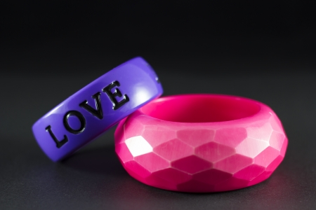 wristlet: Purple and pink love written bracelets