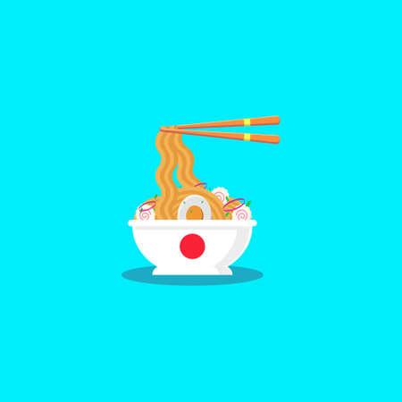 noodle ramen illustration with topping egg, narutomaki, leek and onion. ramen flat design illustration, ramen vector, japan foods vector, isolated ramen illustration