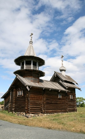 Old wooden church on Kizhi island in Russia photo
