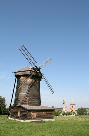 Old wooden windmill in Suzdal Russia photo