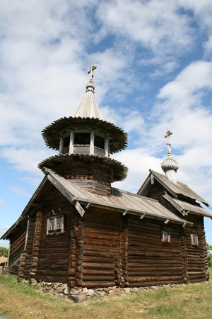 Old wooden church on Kizhi island Russia photo
