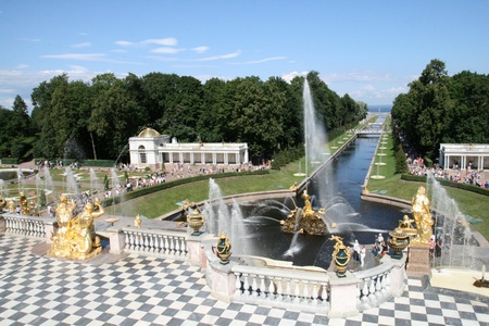 Grand Cascade Fountains of Peterhof Palace Saint Petersburg Russia