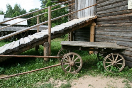 Old wooden cart in Russia Stock Photo - 14449525