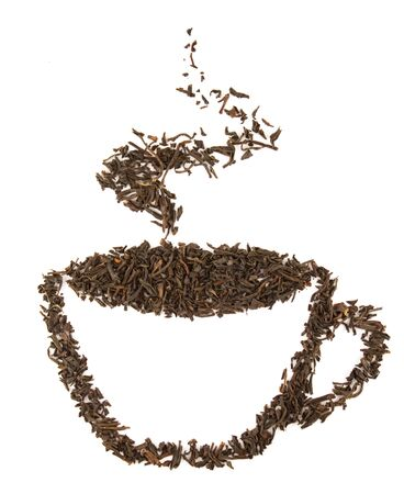 allegory: aromatic cup of tea made of black dry tealeafs