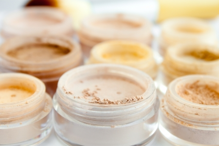 blush: minerel make-up in containers, powder, blush, eye shadows Stock Photo